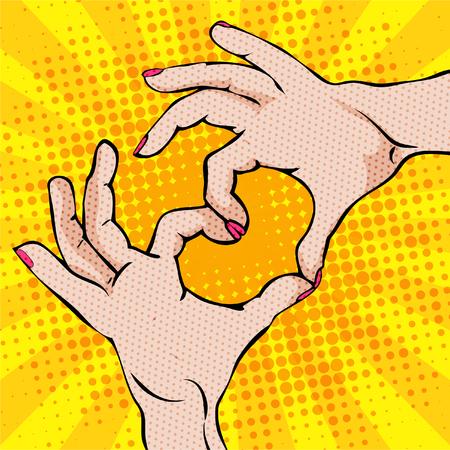 Pop art hand gesturing a heart on plain background.