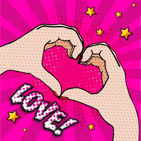 Pop art hand gesturing a heart. Illusztráció