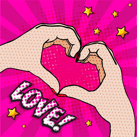 Pop art hand gesturing a heart. Illustration