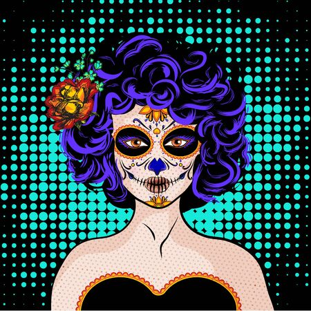 Pop art woman in halloween theme design.
