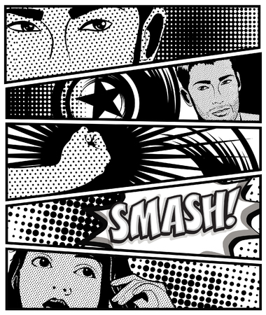 Pop art black and white in comic style