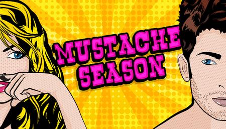 Mustache season pop art in comic style