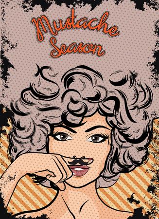Mustache season woman pop art Çizim