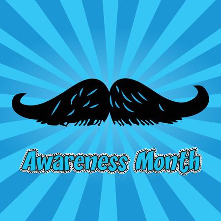 Mustache awareness month illustration on blue background. Çizim