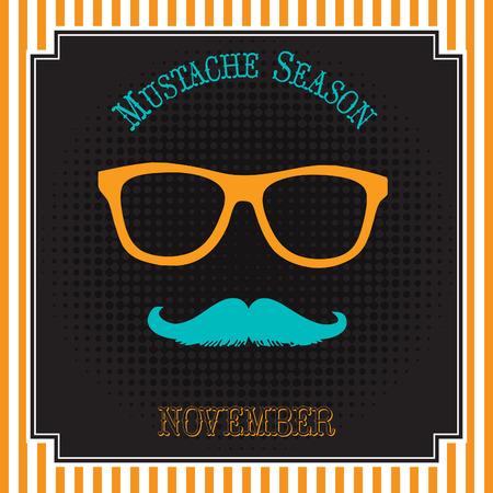 Mustache season pop art illustration design. Çizim
