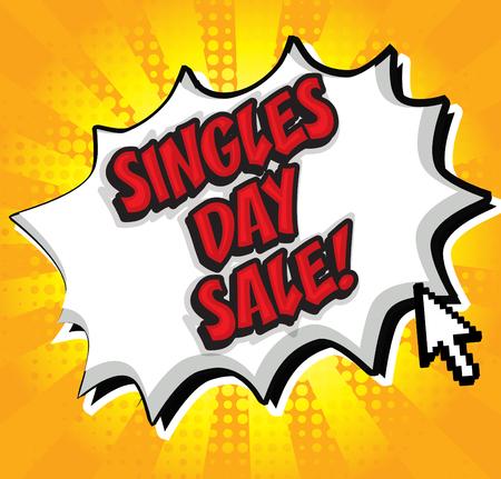 Singles day sale pop art Çizim