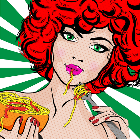 Pop art woman eating spaghetti