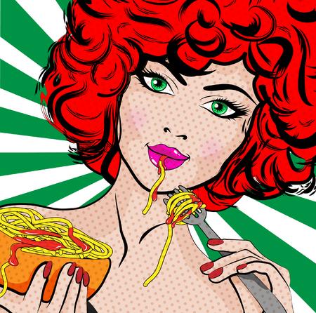 Pop art woman eating spaghetti
