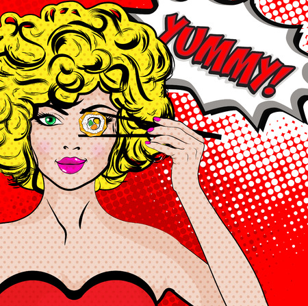 Pop art woman with sushi roll and the word YUMMY Vectores