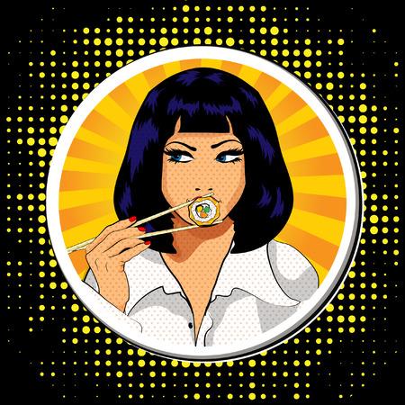 Pop art woman eating a sushi roll Çizim
