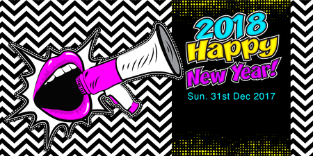Pop art style lips with megaphone and the word 2018 Happy New Year