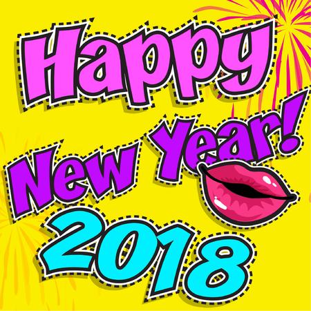 Happy New Year 2018 with lips Çizim
