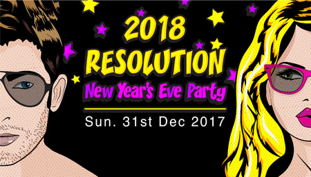 Pop art style man and woman with the word 2018 Resolution