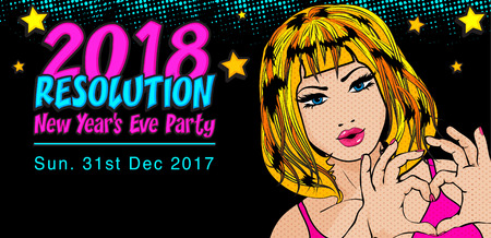 Pop art style woman with the word 2018 Resolution