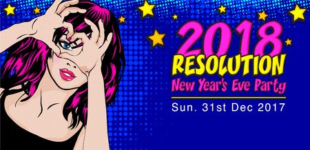 Pop art style woman with the word 2018 Resolution illustration.
