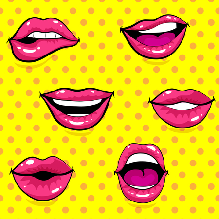 Pop art style woman lips collection