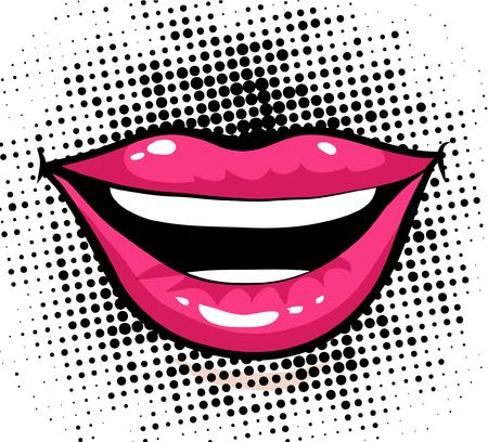 Pop art style woman's lips with halftone background Çizim