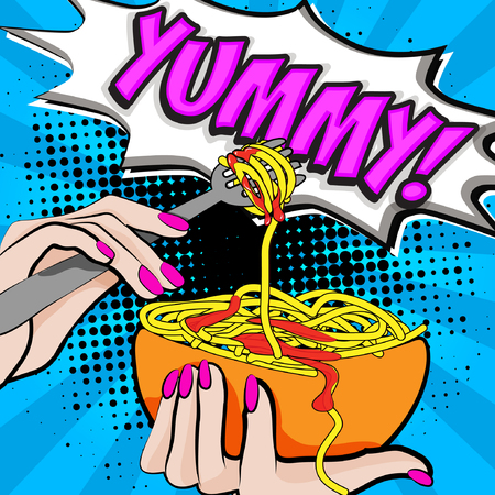 Pop art hand with spaghetti and the word YUMMY illustration.