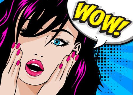Pop-artstijl Wow-teken Vector Illustratie