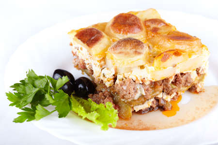 Greek cuisine. Moussaka - casserole of minced meat and vegetables