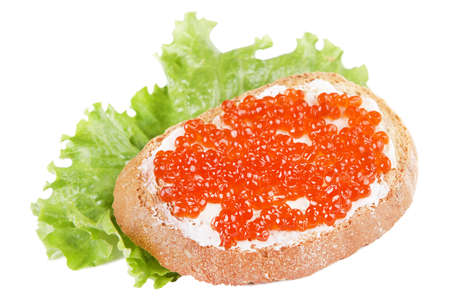 Sandwich with red caviar on a white background photo