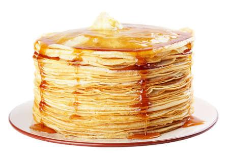 hot cakes: Una pila de pancakes con miel y mantequilla