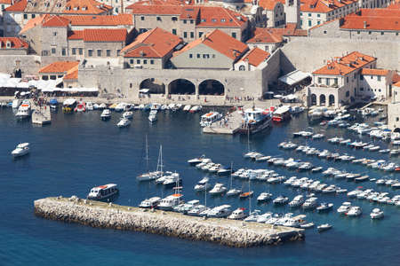 Croatia, Dubrovnik. Top view of the port in the old town photo