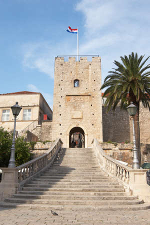 Croatia, Korcula. The city gates, main entrance to the Old Town