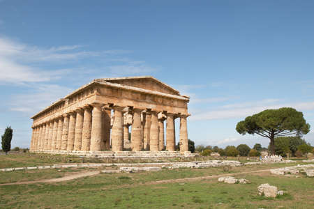 Italy, Paestum. The Temple of Hera-II (formerly known as Neptune or Apollo) photo