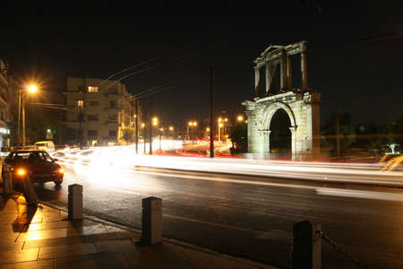 hadrian: Greece, Athens. Arch of Hadrian at night