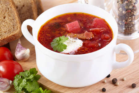 Russian cuisine. Borsch in a white tureen