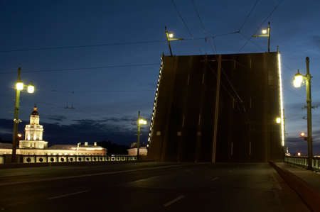 ethnography: Russia. St.-Petersburg. The raised Palace bridge. The Kunstkamera - Museum of Anthropology and Ethnography Stock Photo