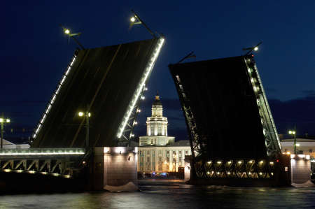 ethnography: Russia. St.-Petersburg. The river Neva. The raised Palace bridge. The Kunstkamera - Museum of Anthropology and Ethnography