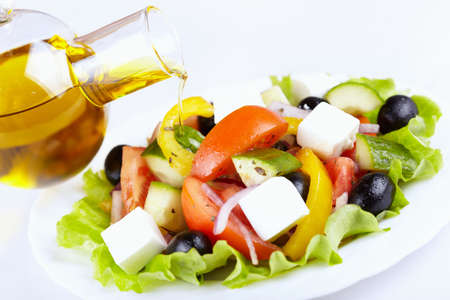 Vegetable salad with cheese and olive oil