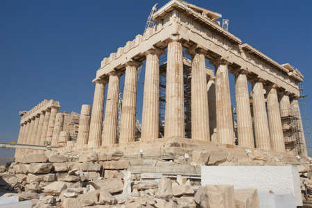 Greece, Athens. The ancient Greek temple of the Parthenon in the Acropolis of Athens photo