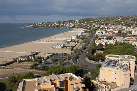 tyrrhenian: Italy, Gaeta. Tyrrhenian Sea. City beach Stock Photo