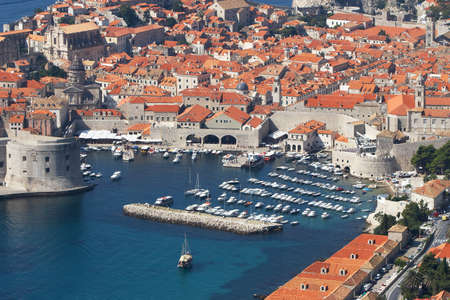 croatia dubrovnik: Croatia, Dubrovnik. Top view of the port in the old town