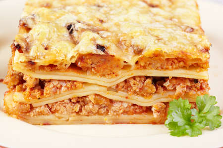 Italian cuisine. Meat lasagna closeup Stock Photo - 13087380