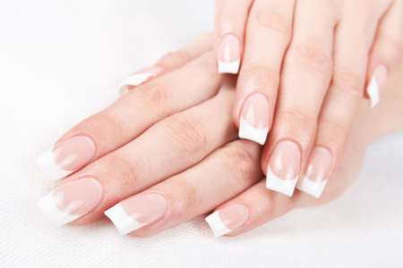artificial nails: A professional French manicure