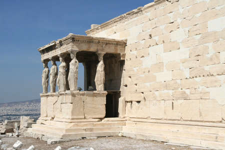 caryatids: Greece, Athens  Acropolis  Porch of the Maidens  Caryatids  in temple Erechtheum Stock Photo
