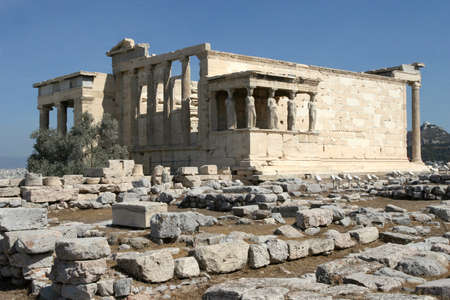 Greece, Athens  Acropolis  Temple Erechtheum  kind from the southwest party Standard-Bild