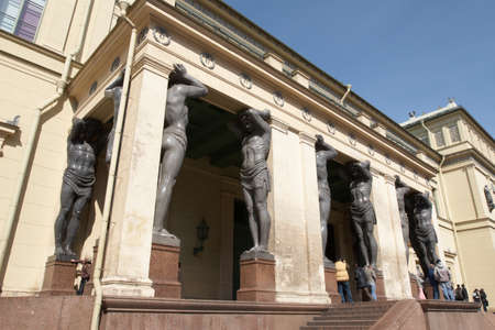 atlantes: Russia. St.-Petersburg. Portico of the New Hermitage with atlantes