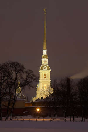 Russia, St. Petersburg. Peter and Paul Fortress in night photo
