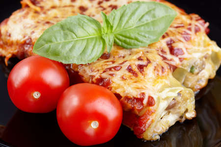 Cannelloni with chicken and mushrooms photo