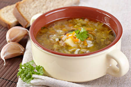 The Russian cuisine  Rassolnik soup