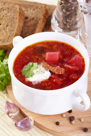 Russian cuisine  Borsch in a white tureen