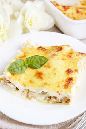 Kannelloni with chicken and mushrooms baked in sauce bechamel photo