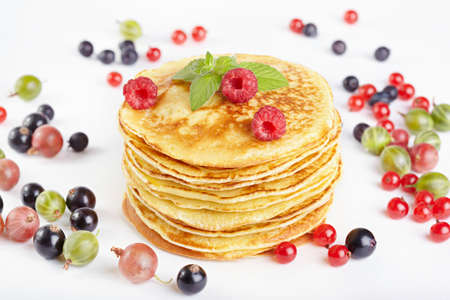 maslen: Pancakes with berry Stock Photo
