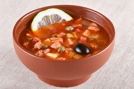 solyanka: Russian and Ukrainian cuisine. Meat solyanka Stock Photo