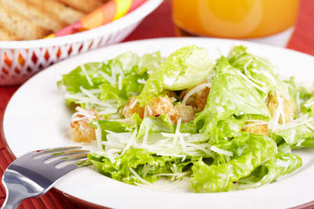 caesar salad: The Caesar salad prepared on the classical recipe Stock Photo